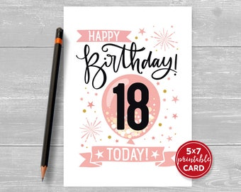 "Printable 18th Birthday Card in Pink - Happy Birthday 18 Eighteen Today! for her- 5""x7"" plus printable envelope template. Instant Download."