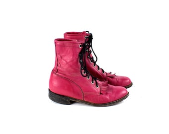 Bubblegum Pink Lacer Boots by Justin, Women's Size 6.5 B
