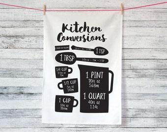 Kitchen Conversions Volumes Tea Towel / Dish Cloth / Cotton Tea Towel / Dish Towel / Mother's Day Gift