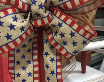 Patriotic bow for your wreath