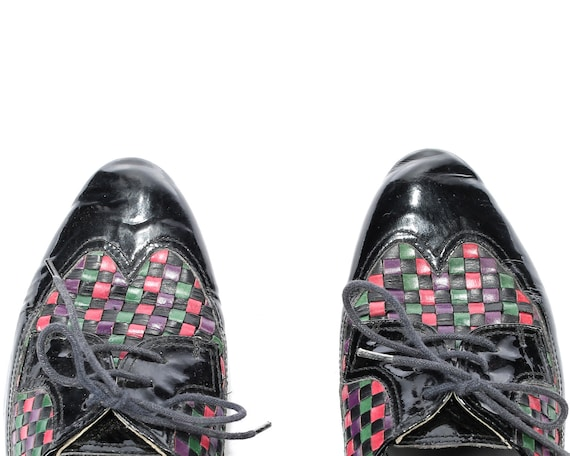 Distressed Minimal Black Lace 5 Woven 5 Up Look Vintage Shoes 3 size Eur Retro Colorfull Braided Leather 80s Shoes Vivid Uk 36 Manly Women's 5CTcnZ6cd
