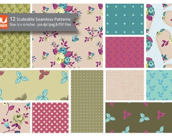 "12 Pretty Floral Digital Scrapbooking Paper Patterns and Collage Sheets - 12x12"" HiRes 300dpi files"
