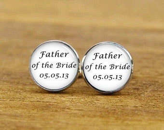 Father Of The Groom Cufflinks, Father Of The Bride, Custom Wedding Date Cuff Links, Groom Cufflinks, Square Cufflinks, Tie Clips, Best Man