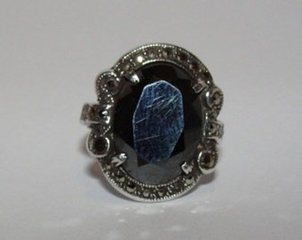 Art Deco Sterling Silver & Faceted Hematite Ring Pave w/ Marcasites