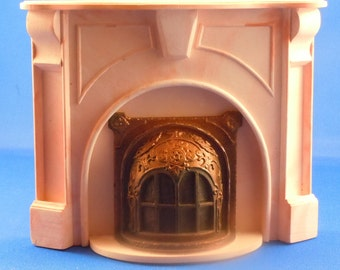 Dollhouse Miniature Accessory; Braxton Payne Pink Fireplace in twelfth scale; 1:12 scale.  Item #D325.