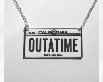 Back to the Future Inspired DeLorean Number Plate Outatime Acrylic Necklace