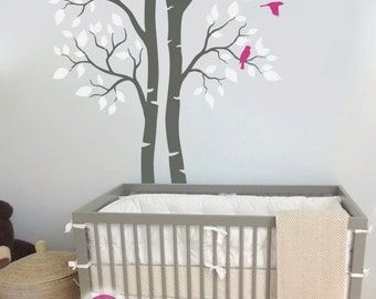 """Twin Tree Wall Decal Nursery Wall Decoration Tree Wall Sticker Nursery Wall Art Mural Birch Trees Large: approx 95"""" x 61"""" - KC006"""