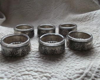 Set of Six Antique Dutch Silver-plated  Repousse Salt Bowls with Glass Inserts