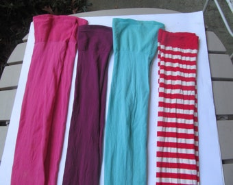 Thigh High Stockings - Woman - Pink - Blue - Purple - Red and White stripes - lot of 4 Stockings - Lingerie