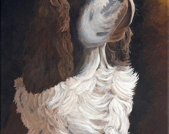 """Totally Devoted, Springer Spaniel, Fine Art Giclee, Home Decor, 20"""" x 16"""""""