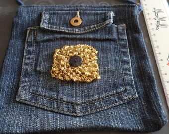 shoulder bag denim with a gold plated 3 new pockets
