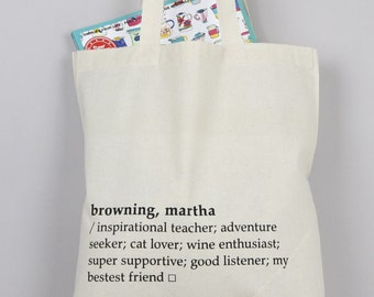 Tote Bag - Dictionary Definition Bag - Book Bag - Grocery Bag - Shopping Bag - Book Lover - Nerd Gift - Made In Scotland - Custom Gift