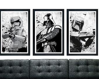 Starwars Trio Grunge Poster Set, Darth Vader, Stromtrooper, Boba Fett.