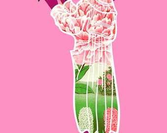Floral Pink Coat Art Print, Woman with Plants Illustration, Pink Graphic Fashion Illustration, Contemporary Black Art, 5x7, 8x10, 11x14