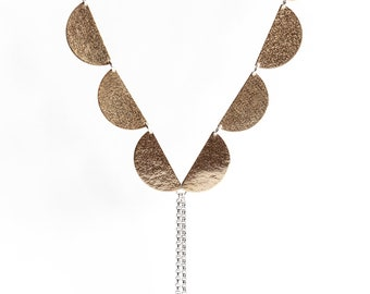 """Long length brass and sterling lariat Y necklace, streamlined design of half moon lunar shapes and dangle beads - """"Brass Elara Necklace """""""