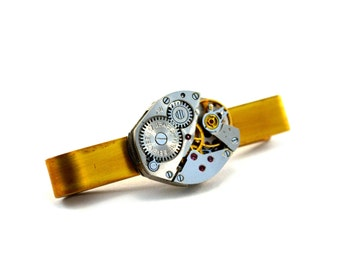 Steampunk Tie Clip, Personalised Steampunk Tie Bar, Skinny, Watch Movement, Secret Message Tie Pin, Custom Tie Clip, Customised Tie Pin