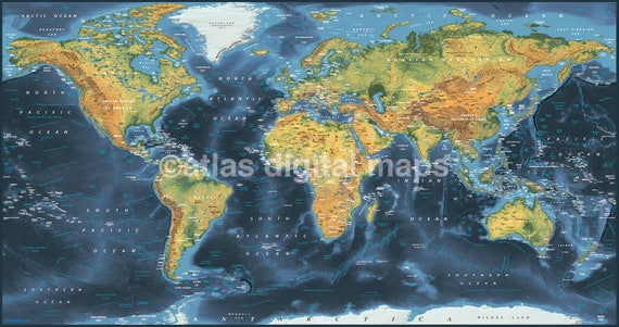 Sale world map canvas navy physical political like this item gumiabroncs Image collections