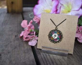 Yoga Om Necklace Namaste Art Floral Design Henna Mehndi Vintage Style Hand Drawn Handmade Jewelry Happiness Peace Symbolism