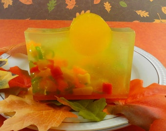Harvest Moon Soap - Glycerin Soap - Handcrafted Soap -  Great Fall Season Soap - Artisan Soap - Thanksgiving Favors - Falling Leaves