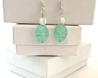 Seafoam Green Shell Dangle Earrings / Shell Earrings / Beach Earrings / Dangle Earrings / Blue Green Dangle Earrings / Ashbee's Accessories