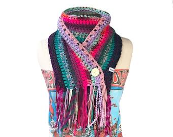 Crochet Fringe Gypsy Scarf Multicolor Boho Wrap