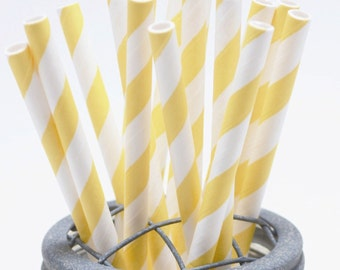 100 Lemon Yellow Stripe Paper Straws - Perfect for Parties - Favors--Free Editable DIY Tags PDF
