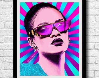 Rihanna Pop Art Digital Painting Print