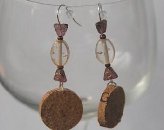 Beaded Wine Cork Earrings Candy Design