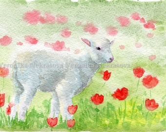 Baby Animal Portrait Lamb Watercolor Print Farm Nursery Lamb Print Animal Watercolor Painting Print Baby Sheep White Baby Lamb