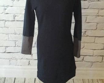 Black Cowl Neck Sweater Dress, Color Block Tunic, Organic Cotton Tunic, Ladies Sweater Dress, Women's Sweatshirt Dress, Hooded Dress, Tunic