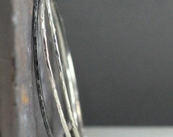 Sterling Hammered Bangle Set - 3 Silver Bangles - Slender Bangle Bracelet Set