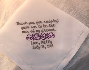 Man of my Dreams Linen Hemstitch Embroidered Wedding Handkerchief Gift to Mother or Father of the Groom from Bride
