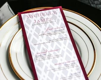 "Wine and Gold, Wedding Dinner Menus, Classic Wedding, Plum, Elegant Wedding Stationery - ""Classic Elegance"" Flat Menu, 1 Layer - DEPOSIT"