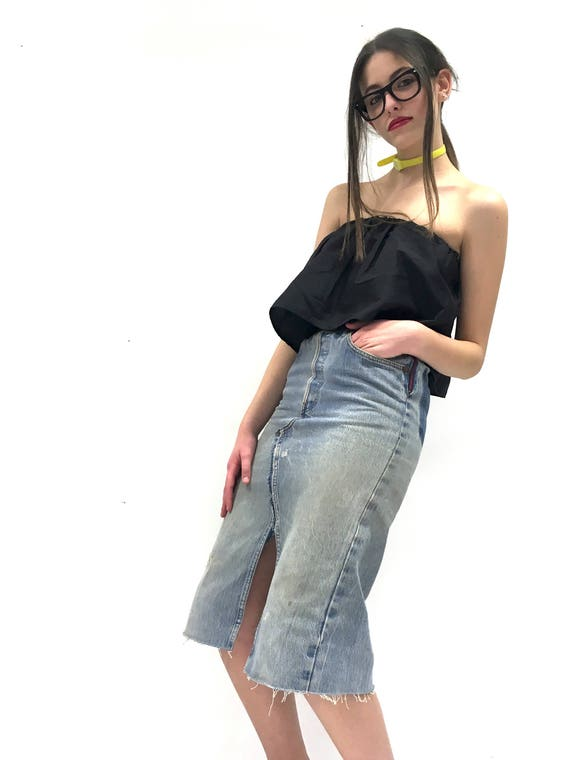 Levi's High Waisted Denim + Leather Jean Pencil Longuette LOLA DARLING Skirt Leather Waistband and Back Pocket Vintage Recycled Unique