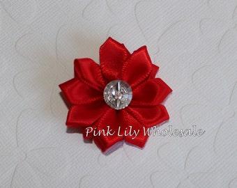 TWO Mini Satin Rhinestone Flowers - TWO Red - Kanzashi Flower - Satin Flower - Craft Flower - Wholesale Flower - Craft Supplies -DIY