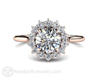 1ct Moissanite Engagement Ring Conflict Free 14K or 18K Rose Gold or Platinum Forever One