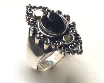 Onyx ring, GemStone ring, Gypsy Ring, twotone ring, Long ring, bohemian jewelry, Tibetan jewelry, unique ring for her - Black sky R2245