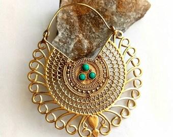 Big Hoop Earrings. Turquoise Earrings. Hoop Earrings. Turquoise jewelry. Tribal Earrings, Brass Earrings, Boho Earrings. Ethnic Earrings.