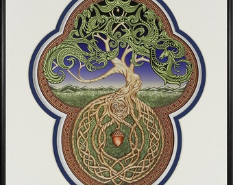 Celtic Tree of Life- Digital Art Print - Tree - Green - Arbor - Big Tree - Great Oak - Acorn - Irish art - yggdrasil