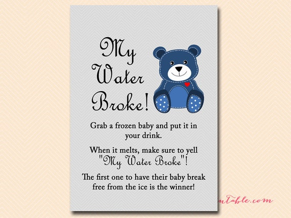 My Water Broke Baby Shower Game, Baby Ice Game, Ice Cube Game, Frozen Baby  Game, Teddy Bear Baby Shower Games Printables, Baby Boy TLC33