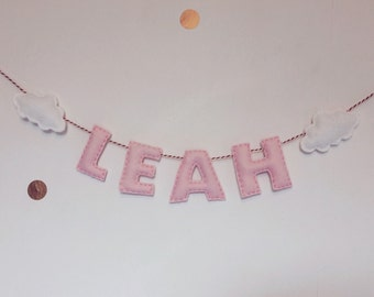 Felt Cloud Baby Nursery Name Garland Banner