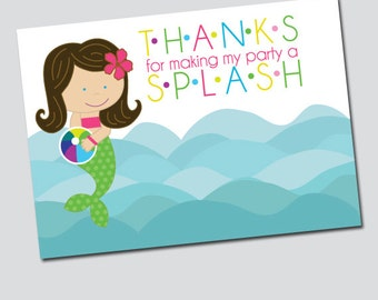 Mermaid Pool Party Thank You Card - INSTANT DOWNLOAD