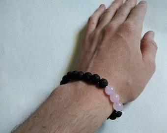 Lava stone and rose quartz diffuser bracelet