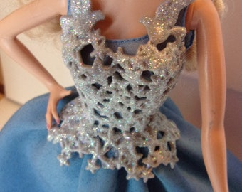 Blue Sparkle Holiday Barbie Gown 2016 for OOAK Includes Mint Fashion Bustier Jewelry Shoes Fashion Royalty Dolls