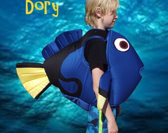 Dory Fish Body Costume Satin covered foam body arm holes, fully lined from Finding Nemo Ready to Ship