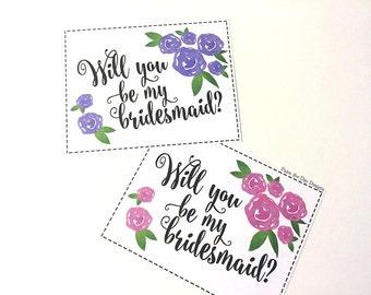 Will You Be My Bridesmaid Wedding Card - Bridesmaid Proposal Watercolor Roses (PACK OF 5) Bridesmaid Gift Card - Watercolor Wedding