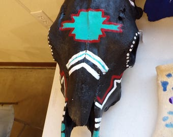 Black/Teal/Red/White Cow Skull