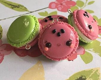 Watermelon Macaron Charm, Polymer Clay Jewelry, Polymer Clay Charm, Kawaii, Watermelon, Planner Charm, Pendant, Food Jewelry, Foodie Gift