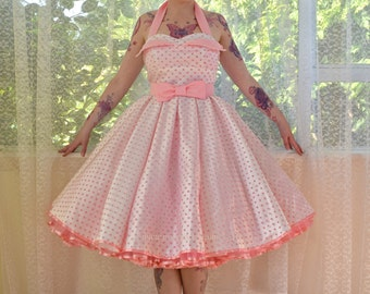 1950's 'Clover' Rockabilly Wedding Dress with Pink Polka Dot Overlay, Petal Bodice, Full Circle Skirt & Petticoat - Custom made to fit