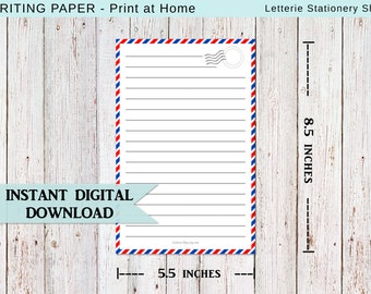 INSTANT DOWNLOAD / Airmail Inspired / Letter Writing / Stationery / Printable / Snail mail / Pen-pal / Paper / Pdf